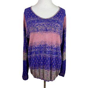 Ruff Hewn Top Purple Printed Lace Accent V-Neck 1X
